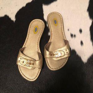 Dr. Scholl's original gold flat out slide sandal 6